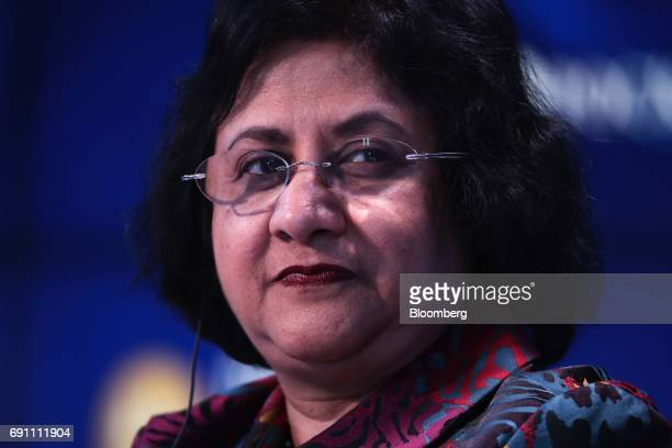 Arundhati Bhattacharya chairman of the State Bank of India Ltd pauses during the Bloomberg Television debate panel during the during the St...