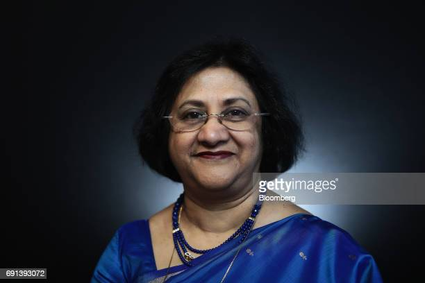 Arundhati Bhattacharya chairman of the State Bank of India Ltd poses for a photograph following a Bloomberg Television interview during the St...