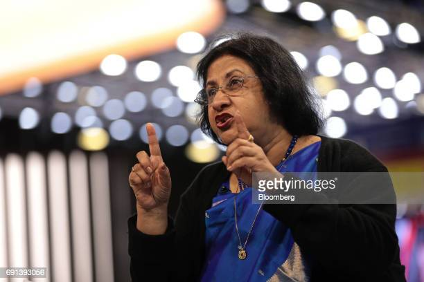 Arundhati Bhattacharya chairman of the State Bank of India Ltd speaks in a Bloomberg Television interview during the St Petersburg International...