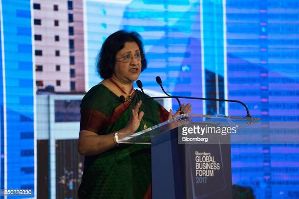 Arundhati Bhattacharya chairman of the State Bank of India Ltd speaks during the Bloomberg Global Business Forum in New York US on Wednesday Sept 20...