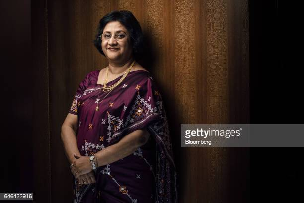 Arundhati Bhattacharya chairman of the State Bank of India poses for a photograph following an interview in Hong Kong China on Tuesday Feb 28 2017...