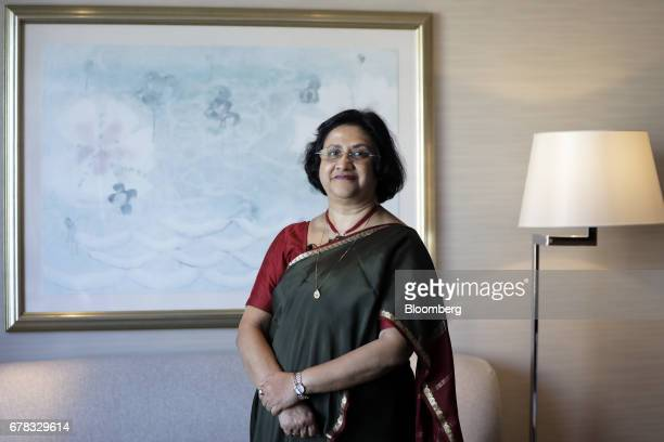 Arundhati Bhattacharya chairman of the State Bank of India poses for a photograph before a Bloomberg Television interview on the sidelines of the...