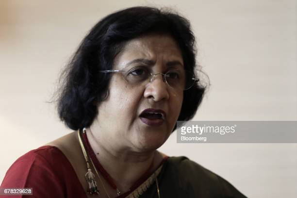 Arundhati Bhattacharya chairman of the State Bank of India speaks during an interview on the sidelines of the 50th Asian Development Bank Annual...