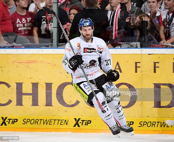 Arvids Rekis of the Augsburger Panther during the DEL game between Koelner Haie and the Augsburger Panther on September 27 2015 in Cologne Germany