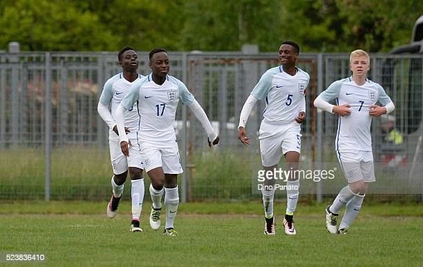 Arvin Appiah of England U15 celebrates after scoring his team's second goal during the U15 International Tournament match between Italy and England...