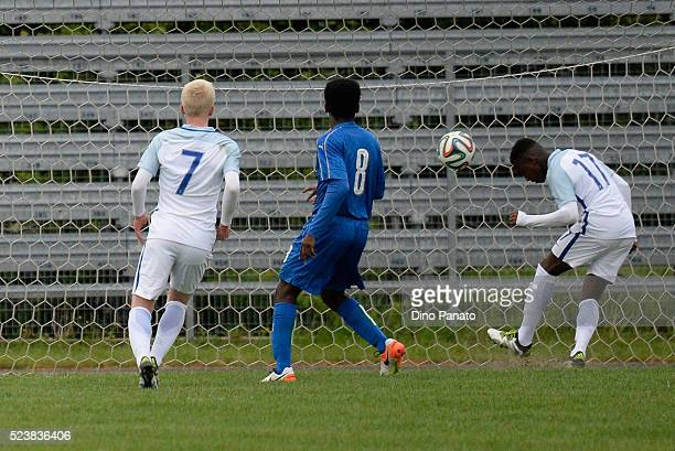Arvin Appiah of England U15 scores his team's second goal during the U15 International Tournament match between Italy and England at Stadio Colussi...