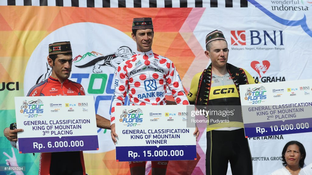 Arvin Moazamigodarzi of Pishgaman Cyling Team Iran, Edgar Nohales Nieto of 7 Eleven Cycling Team Philippines, and Daniel Whitehouse of CCN Cycling Team Laos celebrate on the podium during Best Climbers Classification awarding ceremony of the Tour de Flores 2017 on July 19, 2017 in Labuan Bajo, Flores, Indonesia.