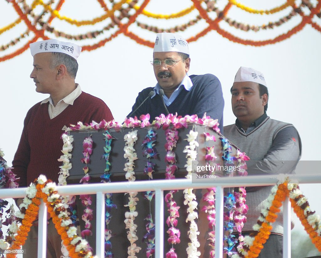 Arvind Kejriwal and Deputy Chief Minister Mr Manish Sisodia during the swearing in ceremony of Arvind Kejriwal at Ramlila Ground on February 14 2015...
