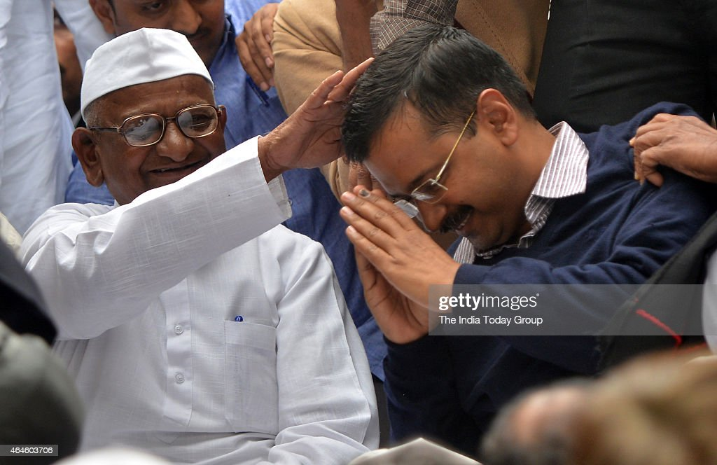 <a gi-track='captionPersonalityLinkClicked' href=/galleries/search?phrase=Arvind+Kejriwal&family=editorial&specificpeople=5980396 ng-click='$event.stopPropagation()'>Arvind Kejriwal</a> seeks the blessings of <a gi-track='captionPersonalityLinkClicked' href=/galleries/search?phrase=Anna+Hazare&family=editorial&specificpeople=5963003 ng-click='$event.stopPropagation()'>Anna Hazare</a> as he shares stage with Anna on his two-day agitation against the ordinance on Land Acquisition Bill at Jantar Mantar in New Delhi.