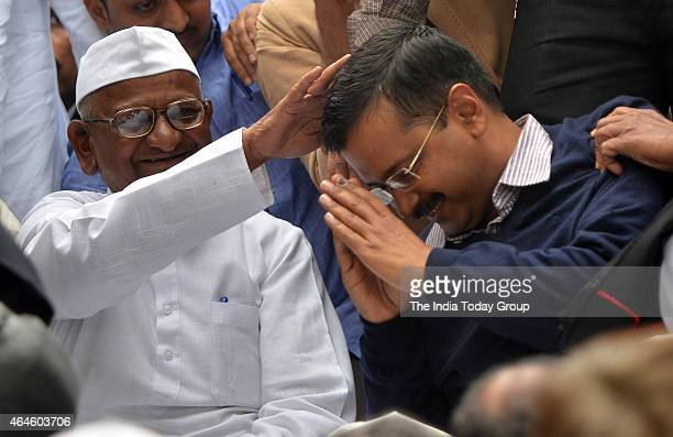 Arvind Kejriwal seeks the blessings of Anna Hazare as he shares stage with Anna on his twoday agitation against the ordinance on Land Acquisition...