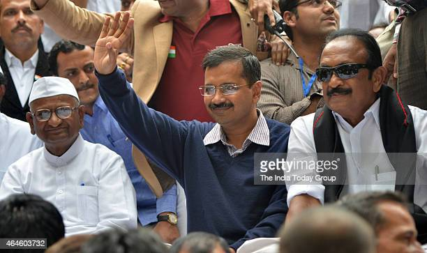 Arvind Kejriwal with MDMK chief Vaiko shares stage with Anna Hazare on the second day of his twoday agitation against the ordinance on Land...