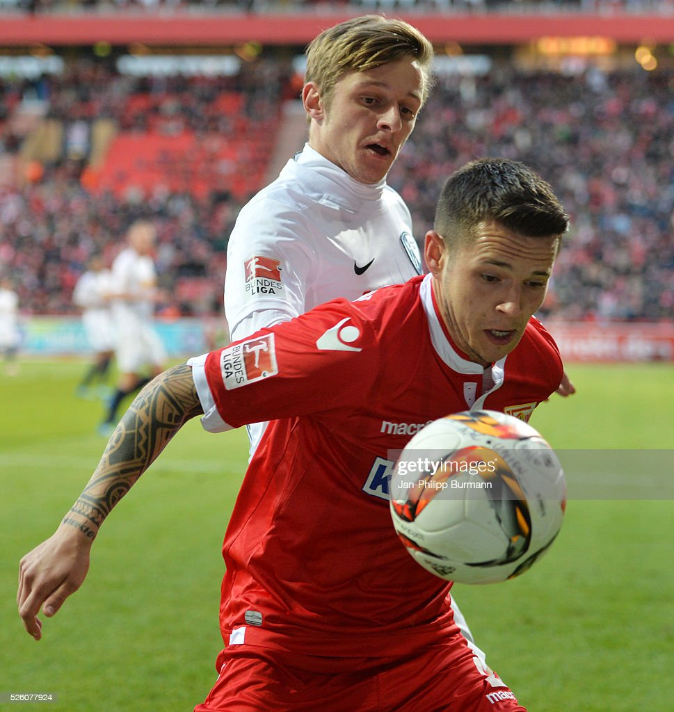 Arvydas Novikovas of VFL Bochum and Christopher Quiring of 1.FC Union Berlin during the game between Union Berlin and VFL Bochum on April 29, 2016 in Berlin, Germany.