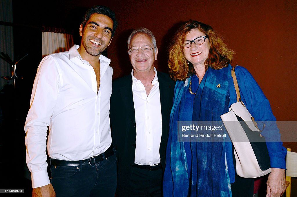 Ary Abittan, Bernard Murat and his wife Zana attend the Ary Abittan performance at Theater Edouard VII benefiting 'Un Coeur Pour La Paix' on June 24, 2013 in Paris, France.