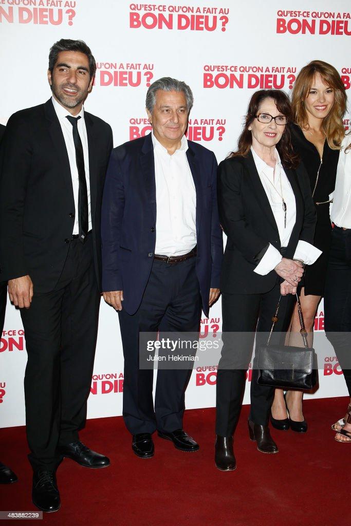 Ary Abittan, Christian Clavier, Chantal Lauby and Elodie Fontan attend 'Qu'est-ce Qu'on A Fait Au Bon Dieu?' Paris Premiere at Le Grand Rex on April 10, 2014 in Paris, France.