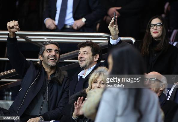 Ary Abittan Patrick Bruel above Liv Tyler attend the UEFA Champions League Round of 16 first leg match between Paris SaintGermain and FC Barcelona at...