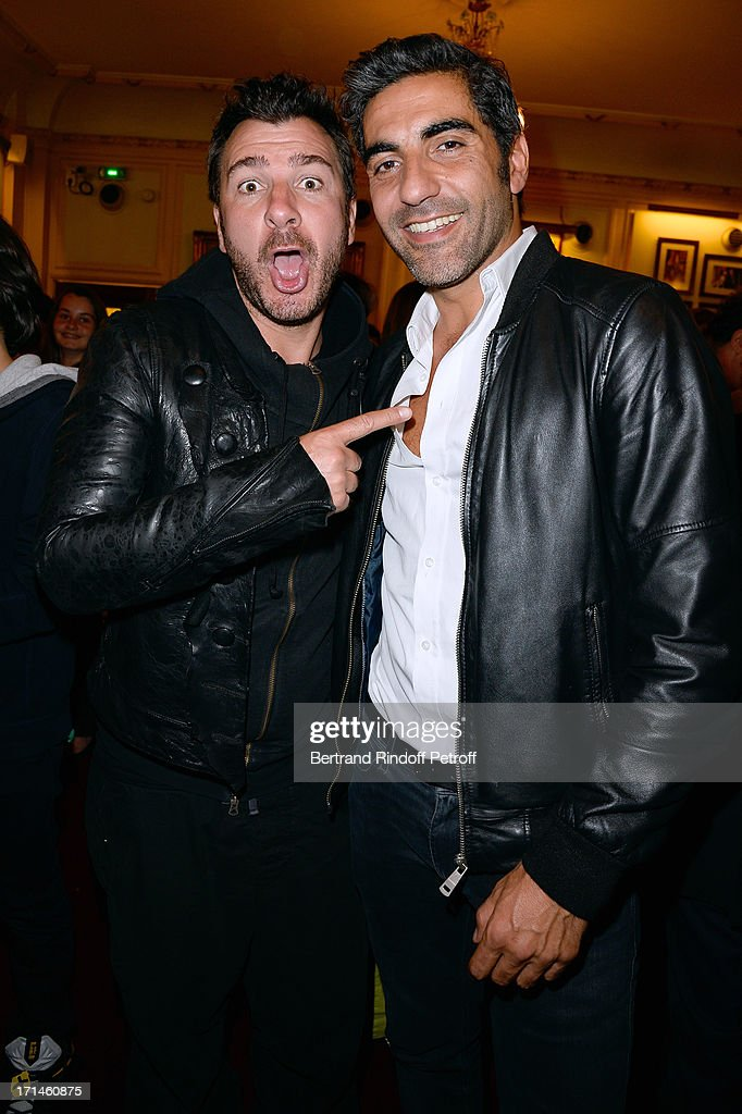 Ary Abittan (R) poses with Michael Youn after his performance at Theater Edouard VII benefiting 'Un Coeur Pour La Paix' on June 24, 2013 in Paris, France.
