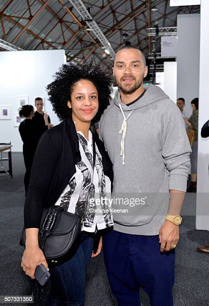 Aryn DrakeLee and actor Jesse Williams attend the Art Los Angeles Contemporary 2016 Opening Night at Barker Hangar on January 28 2016 in Santa Monica...