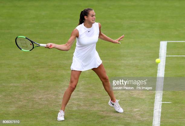 Aryna Sabalenka in action against Irina Khromacheva on day one of the Wimbledon Championships at The All England Lawn Tennis and Croquet Club...