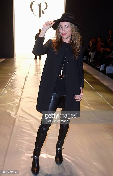 Arzu Bazman attends the Charlotte Ronson show during the MercedesBenz Fashion Week Berlin Autumn/Winter 2015/16 at Brandenburg Gate on January 19...