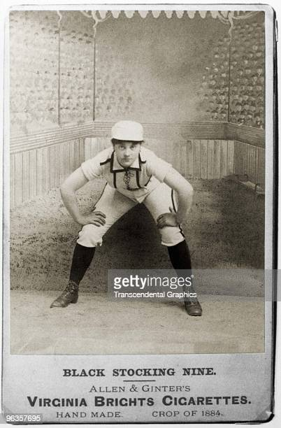 As a premium for cigarette smokers this photographic cabinet card was issued by Allen Ginter tobacco company with the image of woman baseball player...