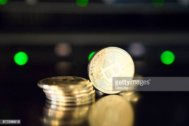 As a visual representation of the digital Cryptocurrency Bitcoin physical tokens are photographed on October 24 2017 in Hong Kong Hong Kong...