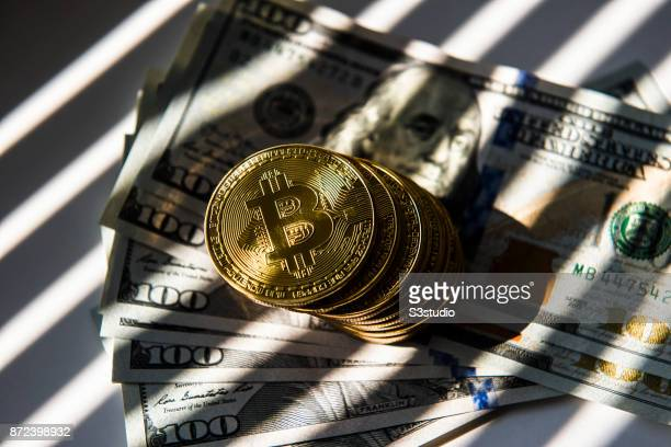 As a visual representation of the digital Cryptocurrency Bitcoin sit on US Dollar on November 9 2017 in Hong Kong Hong Kong Cryptocurrencies Bitcoin...