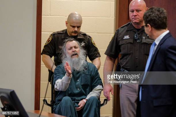 As Charles Severance is wheeled into the courtroom he voices that he does not want his defense attorney Joe King seated next to him during the...
