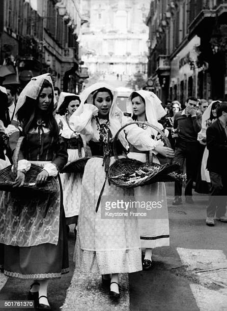 As Every Year For Easter Week A Group Of Ciocciare Or Witches Dressed With The Original Costume Of Their Province Offered Flowers Today To Women In...
