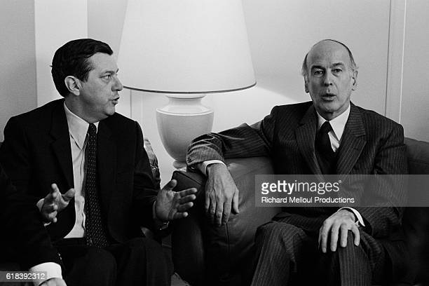 As French President Valery Giscard d'Estaing announces his canidature to his own succession his entire entourage including politician JeanPhilippe...