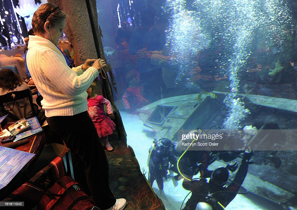 As her son Jonathan Wallace, 19, who has cerebral palsy, makes his way under water, Sharon Wallace snaps a few photos through the tank glass from the aquarium restaurant. Two teens from the Riley Children's Foundation are learning how to scuba dive with instructors from the A-1 Scuba and Travel Aquatics Center at the Downtown Aquarium.