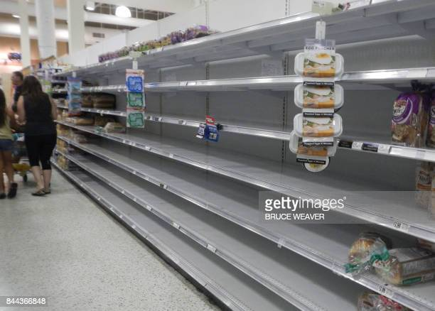 As Hurrcane Irma approaches Florida September 8 2017 shoppers in Port St John near Kennedy Space Center find almost empty bread shelves Warning that...