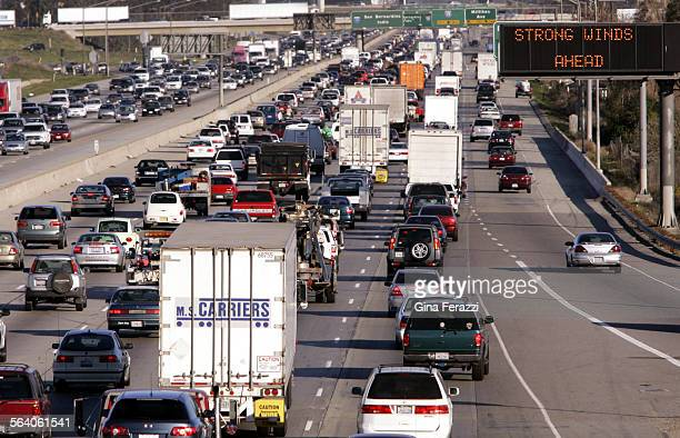 As if the holiday traffic wasn't bad enough high winds forced truckers and SUV's to stay off the 15 freeway causing a parking lot on the 10 freeway...