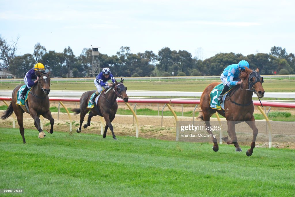 As It Lies ridden by Michael Dee wins the Melbourne Cup Day @ Echuca 3YO Fillies Maiden Plate at Echuca Racecourse on August 21, 2017 in Echuca, Australia.