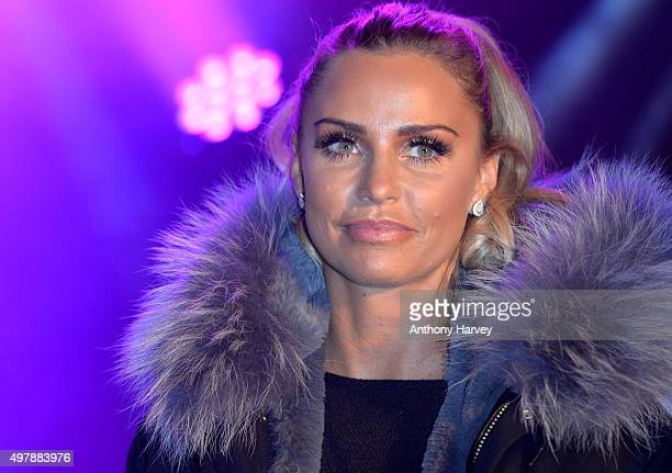 as Katie Price switches on the Woking Shopping Christmas Lights at on November 19 2015 in Woking England