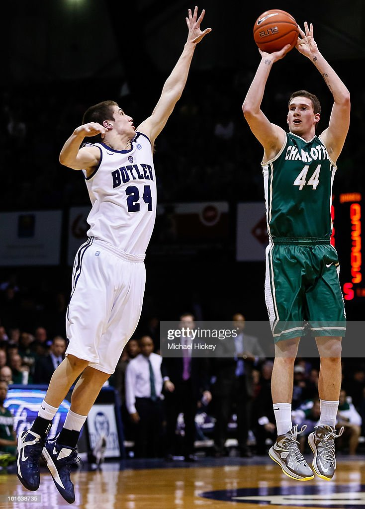 As Kellen Dunham #24 of the Butler Bulldogs defends Ivan Benkovic #44 of the Charlotte 49ers shoots the ball at Hinkle Fieldhouse on February 13, 2013 in Indianapolis, Indiana. Charlotte defeated Butler 71-67.