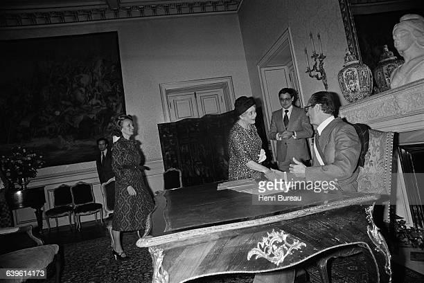 As mayor of Paris Jacques Chirac performed the civil marriage of Anne de Boissieu granddaughter of General de Gaulle at the Hotel de Ville Yvonne de...