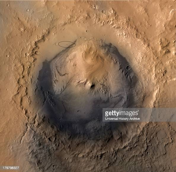 As of June 2012 the target landing area for NASA's Mars Science Laboratory mission is the ellipse marked on this image of Gale Crater