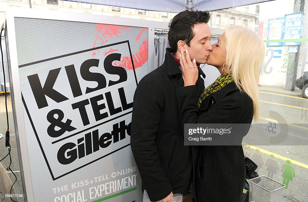 As part of a 15-city tour, Gillette invites New York City couples to Kiss & Tell and reveal which kiss is best: a kiss with stubble or smooth shaven skin, at Times Square on January 16, 2013 in New York City.