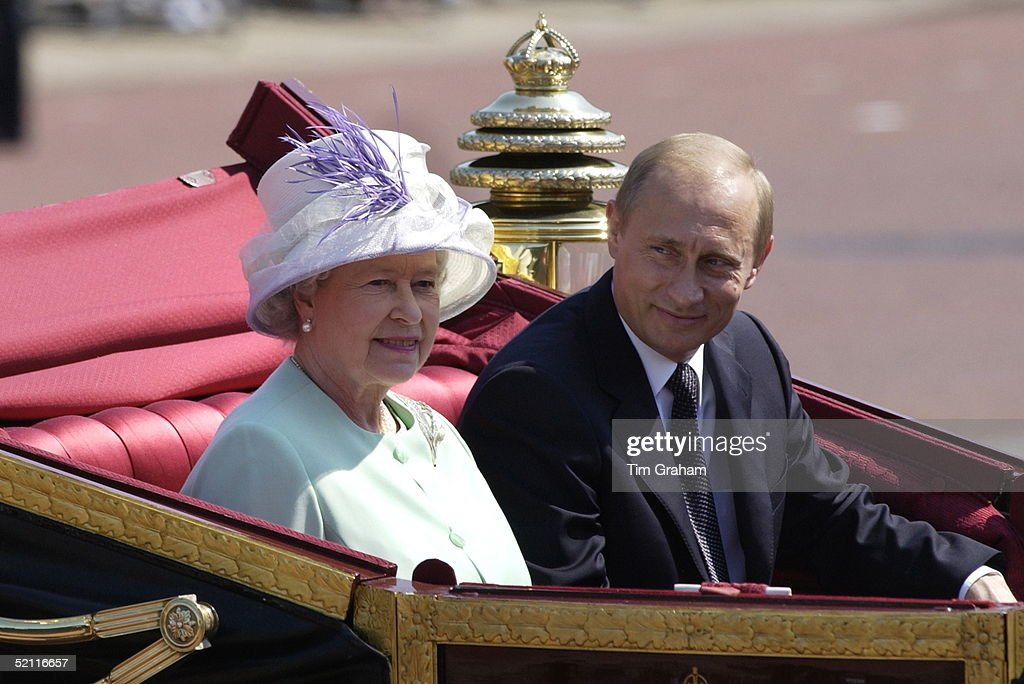 As Part Of The First State Visit By A Russian Leader Since 1874 President Putin Of The Russian Federation Rides With Queen Elizabeth Ll In An Open Carriage In A Procession