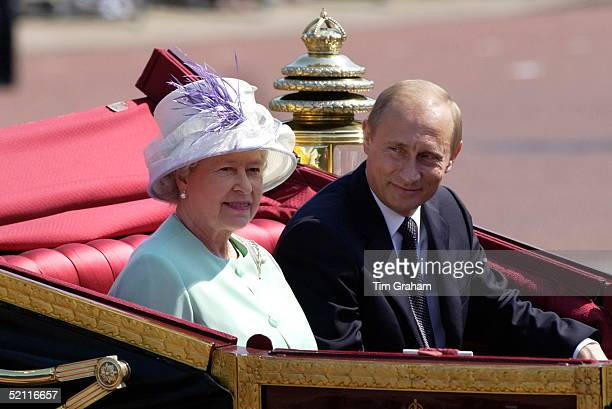 As Part Of The First State Visit By A Russian Leader Since 1874 President Putin Of The Russian Federation Rides With Queen Elizabeth Ll In An Open...
