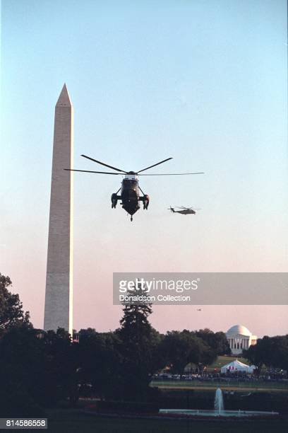 As President George W Bush returns to Washington DC Tuesday Sept 11 Marine One prepares to land on the South Lawn of the White House Photo by Paul...