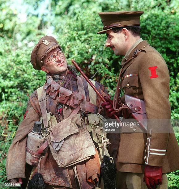 As Private Baldrick Tony Robinson and Right ROWAN ATKINSON As Captain Blackadder British Actors Stars of the BBC TV series 'Blackadder' Stars of the...
