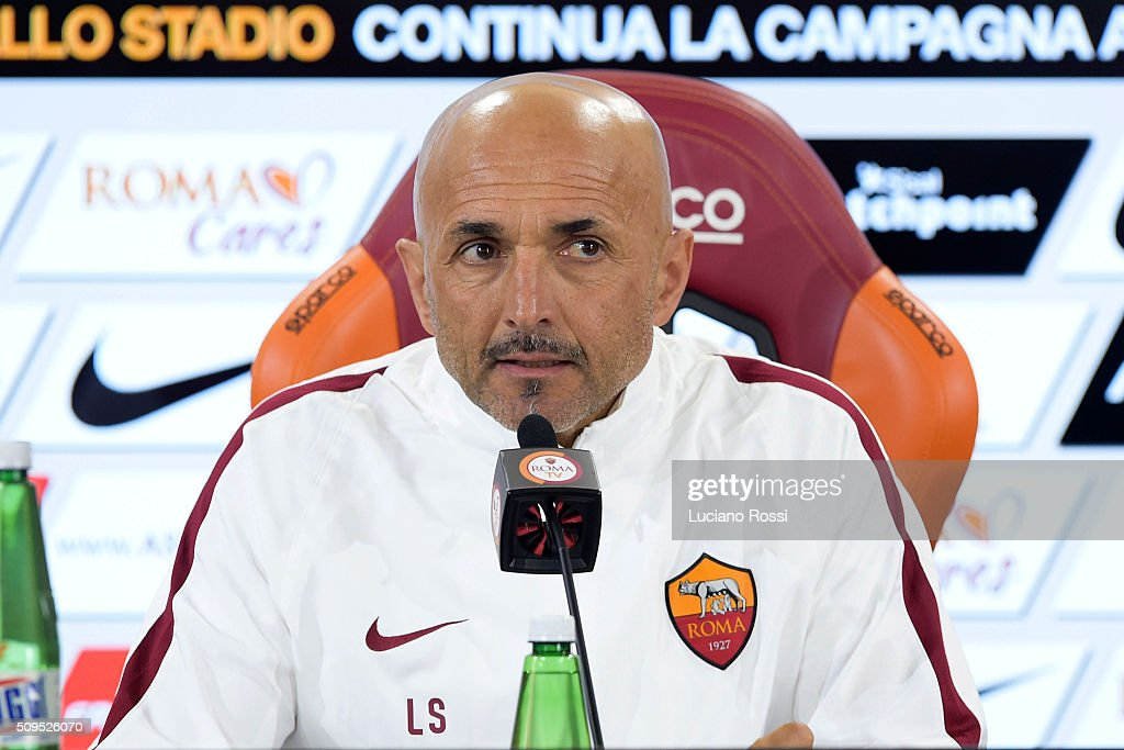 As Roma coach <a gi-track='captionPersonalityLinkClicked' href=/galleries/search?phrase=Luciano+Spalletti&family=editorial&specificpeople=708667 ng-click='$event.stopPropagation()'>Luciano Spalletti</a> attends a press conference on February 11, 2016 in Rome, Italy.