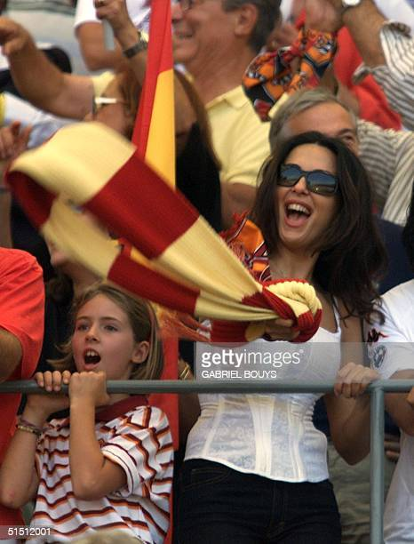 As Roma's fan Italian actress Sabrina Ferilli jubilates in a stand of the stadium after the last day of the First Italian League at Rome's Olympic...