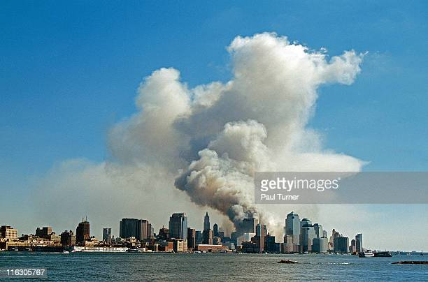 As seen from New Jersey smoke hangs over South Manhattan after the collapse of the twin towers of the World Trade Center in a terrorist attack New...
