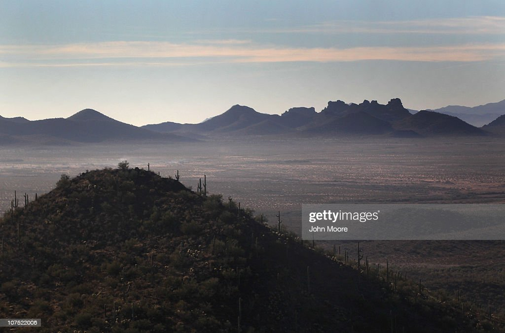As seen from the air, the vast Sonoran Desert stretches into the distance on December 9, 2010 in the Tohono O'odham Reservation, Arizona. The remote area, near the U.S.-Mexico border, is a favorite spot for drug smugglers and illegal immigrants to cross into the United States.