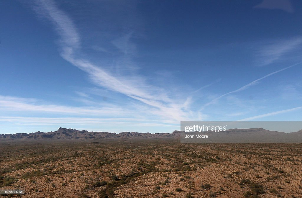 As seen from the air the vast Sonoran Desert stretches into the distance on December 9 2010 in the Tohono O'odham Reservation Arizona The remote area...