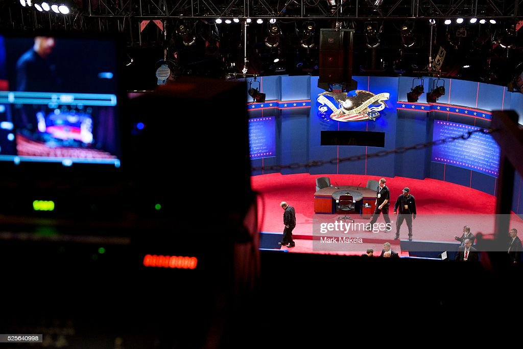 As seen from the recording balcony area last minute preparations are made to the stage setting for the Vice Presidential Debate with Joe Biden and...