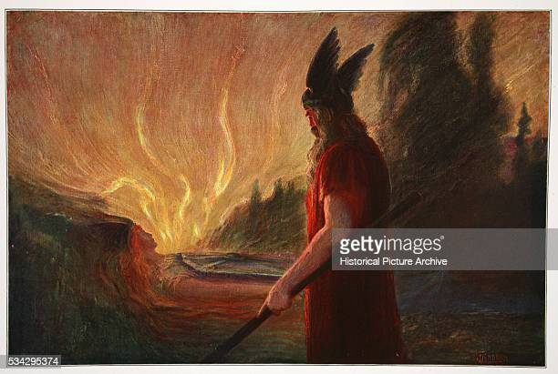 'As the flames rise around Brunnhilde Odin leaves Illustration by Hermann Hendrich from the opera ''Die Walkure'' part of ''The Ring of the...