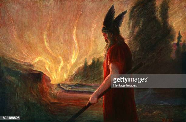 As the Flames Rise Wotan Leaves' 1906 From The Ring Cycle of operas by German composer Richard Wagner Found in the collection of the Bibliotheque des...